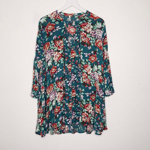 Pink Blush Maternity Bell Sleeve Floral Tunic
